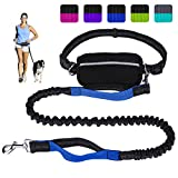 Hands Free Dog Leash for Running Walking Training Hiking, Dual-Handle Reflective Bungee, Poop Bag Dispenser Pouch, Adjustable Waist Belt, Shock Absorbing, Ideal for Medium to Large Dogs (Black W Blue)